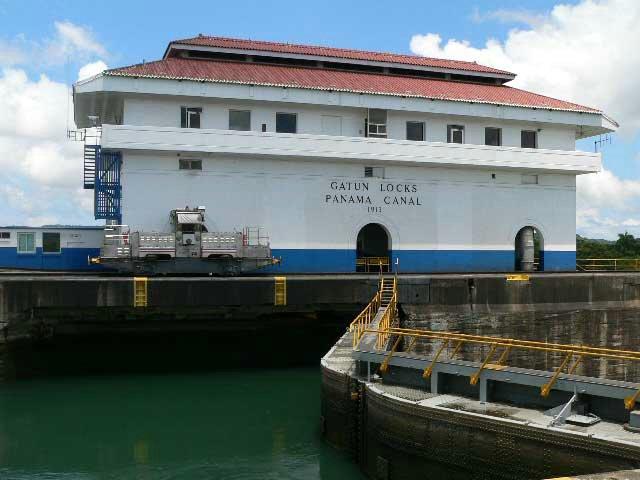 The control house at the Panama Canal Gatun Locks
