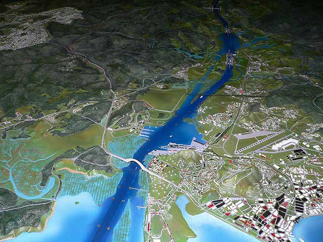Relief map of the Pacific side Panama Canal entrance with partial view of Panama City